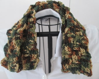Scarf or Scarflette, Basketweave Woodsy, Scarf, Camo, Green and Brown, Ready to Ship