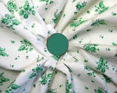 Vintage 1950s -Minty Green White Cotton Rose Motif Print Fabric- 1 5/8 Yards Piece