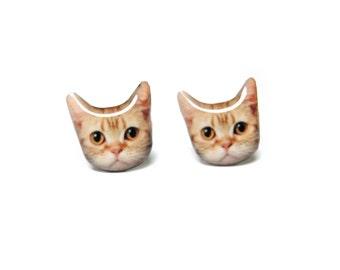 Cute Redish Brown Short Hair  Cat Kitten Stud Earrings - A025ER-C28  Made To Order / Pet memorial gift / Pet Jewelry / Cat Lover / Pet Lover
