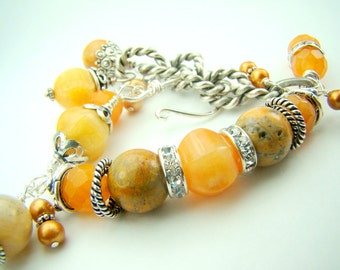 Gold gemstone bracelet, chunky charm bracelet, golden honey, yellow jade