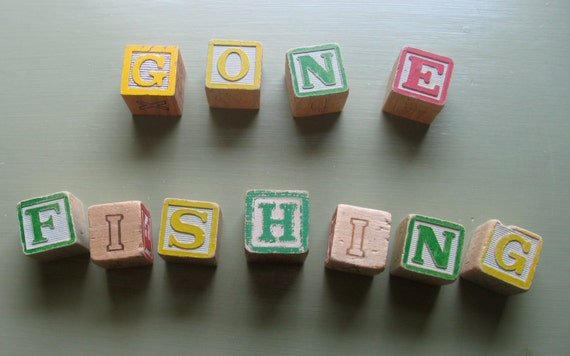11 Shabby Chic Vintage Wooden Alphabet Blocks, Gone Fishing, Go Green and more