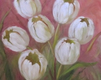 White Tulip Still Life Oil Painting, Pink Background, 12x12 Canvas Original Oil painting by cheri wollenberg