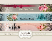 ETSY SHOP BANNERS, Set No7 - Multipurpose digital images/ Printable Download/ Digital Collage Sheets/ Bookmarks/ Paper Goods