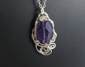 Amethyst and Sterling Silver Pendant - Fancy Cut Bead