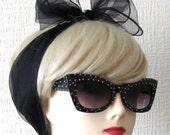 Vintage Nylon Chiffon Scarf in Black, very Rockabilly, Pin Up. Deadstock 50s / 60s