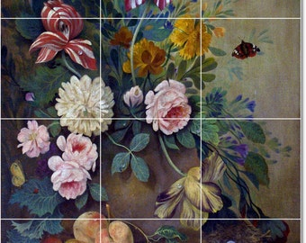 S-M-L-XL Custom Ceramic Flowers Painting Tile Mural. Flowers2  By Joseph Nigg