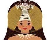 Samoan Girl Matryoshka Art Print, Kids Wall Art