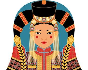 Mongolian Wall Art Print features cultural traditional dress drawn in a Russian matryoshka nesting doll shape