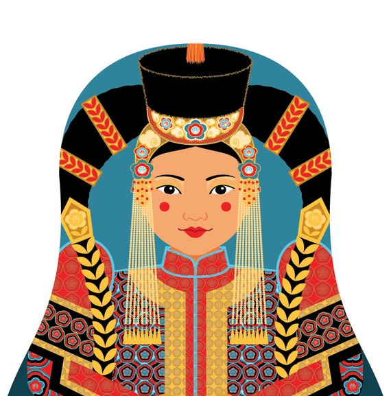 Mongolian Doll Art Print with traditional folk dress, matryoshka