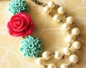 Flower Necklace Bridesmaid Jewelry Statement Necklace Pearl Jewelry Red Rose Necklace Wedding Necklace