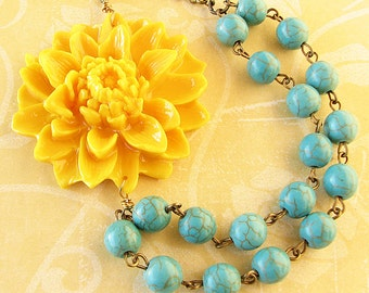 Flower Necklace Statement Necklace Turquoise Jewelry Yellow Necklace Bridesmaid Jewelry Beaded Necklace