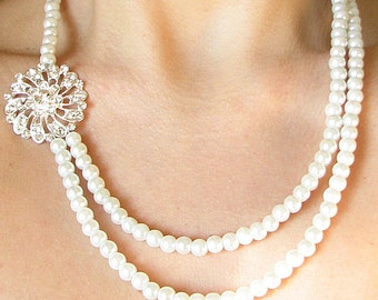 Bridal Jewelry Pearl Necklace Wedding Jewelry Bridal Necklace Bridesmaid Gift Crystal Rhinestone Necklace