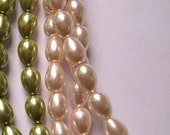 Glass Teardrop Pearl Round Beads 9x7mm. 15.5 Inch Strand, Baby Pink Color.
