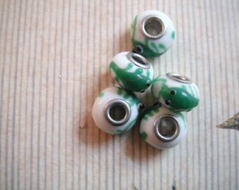 Lampwork Art Glass Scorpion Cable Style  5mm Large Hole Beads, 15x12mm. Pack Of 5 Beads