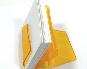 Yellow Colored Vinyl Record Album Business Card Holder / CD Display / iPhone Stand