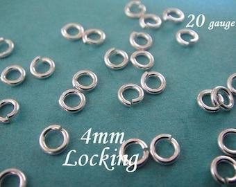 Silver 4mm Jump Ring, LOCKING, OPEN,  50 pcs, 20 gauge ga g, aka jumplocks, 925 sterling