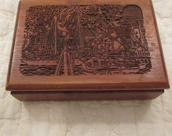 Vintage Wood Box with Sea scape scene carved top SALE