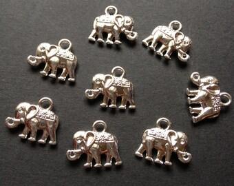 50 - small silver elephant charm Pendant - Lead free Nickel free and cadmium free