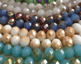 Electroplated Crystal Rhondell beads 8mmX5mm - 1 Strand