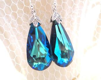 Wedding earrings, Swarovski Bermuda Blue earrings, Crystal Bridal earrings, Bridal jewelry, Bridesmaid earrings, Peacock color earrings