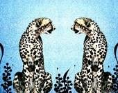 Cheetah Art Twins Rival Big Cat African Safari Digital Abstract Mirror Imaging Animal Blue Home Decor Wall Hanging Giclee Print 8 x 10