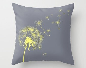 Gray and Yellow Dandelion Throw Pillow Cover