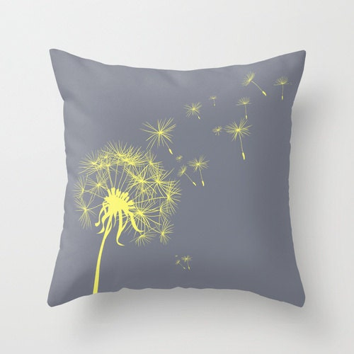 Decorative Pillows For Couch Etsy : Gray and Yellow Dandelion Throw Pillow Cover