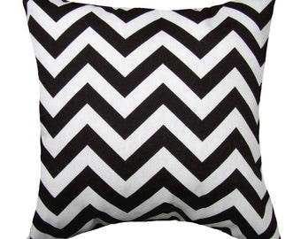 Black Outdoor STUFFED Pillow, Black Chevron Pillow, Black Outdoor Pillows 16 18 20, Black White Chevron Throw Pillow, ZigZag Black Free Ship
