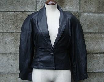 Black Leather Jacket 1980s Kezia Women's size 6