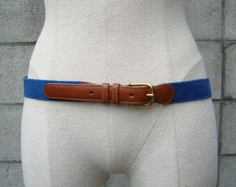 Coach Leather Belt Vintage 1980s  and Woven Fabric Linen Blue and Carmel Brown Marked size 36