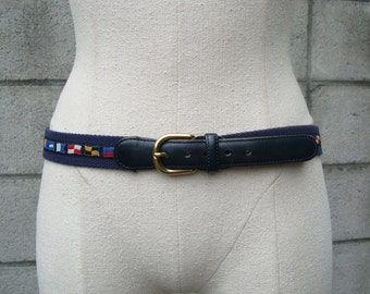 Paul and Shark Belt Vintage 1980s Woven Fabric Blue Signal Flags Nautical