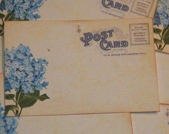 50 Vintage Post Card Wedding Placecard or Escort Cards - Wedding Postcards - Blue Hydrangea Wedding Place Cards