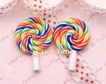 35mm Rainbow Polymer Clay Lollipop Miniature Sweets Deco - 5pcs
