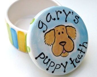 personalized hand painted ceramic puppy teeth boxes