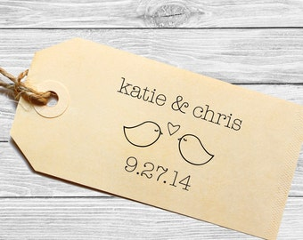 Custom wedding favor stamp or save the date with love birds!--144TS