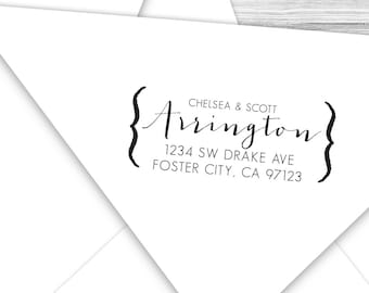 Custom formal calligraphy return address stamp with brackets--116TS