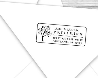 Custom address stamp with nice tall leafy tree--120TS