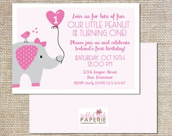 Birthday party invitation--Our Little Peanut/Elephant