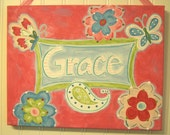 """11 x 14 """"groovy butterfly"""" personalized name original painting Baby decor Children wall art Nursery Kid girl room pink aqua green paisley"""
