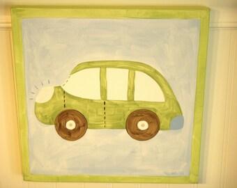 Car canvas painting 12 x 12 Original OOAK Boy room decor Blue green auto transportation Baby shower nursery Children wall art Kid bedroom