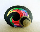 Unique 3-D Art Object, Hand Painted Rock, Signed Numbered, Office Decor, Decor and Housewares, Ornament, Figurine, Multi Colors on Black