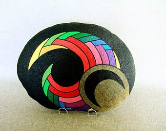 Radical Original Painted Rock Unique 3-D Art Statement Fierce Rainbow Colors Black Fantastic Office Decor Gift for Him Awesome Home Decor