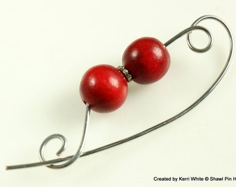 Cranberry Wood Scarf Pin, Shawl Pin, Jewelry Brooch - Scarf Accessory, Knitting Accessory, Wood Pin, Jewelry Brooches, Knitters Gift