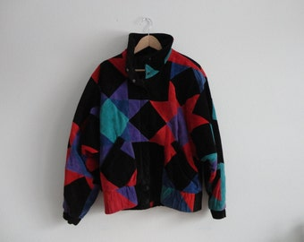 VINTAGE black and multi color quilted SUEDE leather JACKET - med.