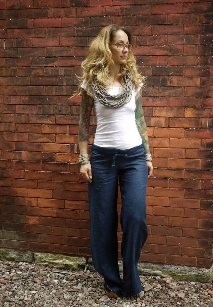 Navy Blue Women S Drawstring Low Rise Wide Leg Linen