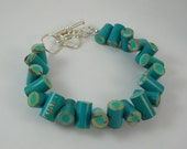 Colored Pencil,  Beaded Bracelet, Jewelry, Charm Bracelet, Teacher Artist Creative Gift, Adjustable, Toggle, Teal, Aqua