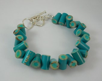 Colored Pencil,  Beaded Bracelet, Jewelry, Charm Bracelet, Teacher Artist Creative Gift, Adjustable, Toggle, Teal, Aqua