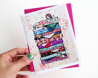 Card - Princess and the Pea - Cute Whimsical Blank Greeting Card with Envelope