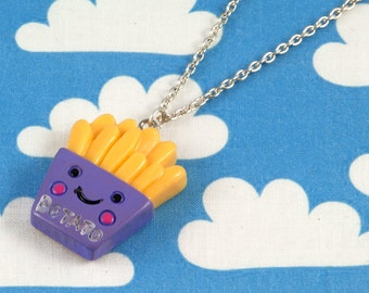 Kawaii Happy Fries Necklace Purple
