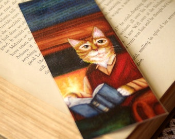 Reading Cat Bookmark, Orange Tabby Cat in Clothes Reading Book, Paper Bookmark
